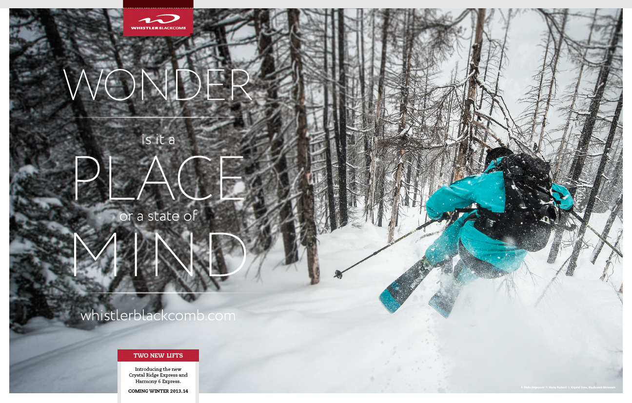 whistler, aspen, and keystone's freeskier print ads come under the