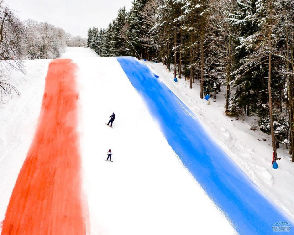 red white and blue slopes at canaan valley resort