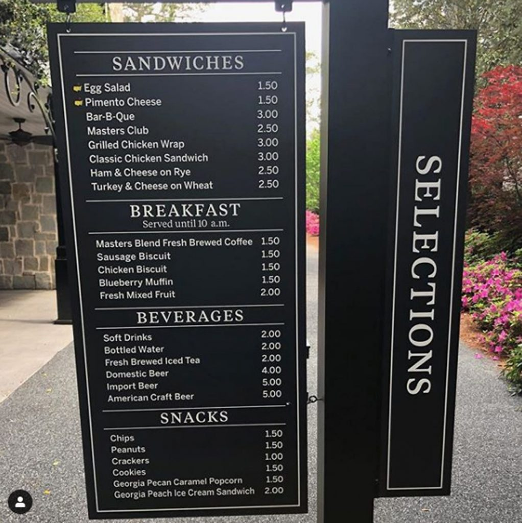 photo of masters food prices