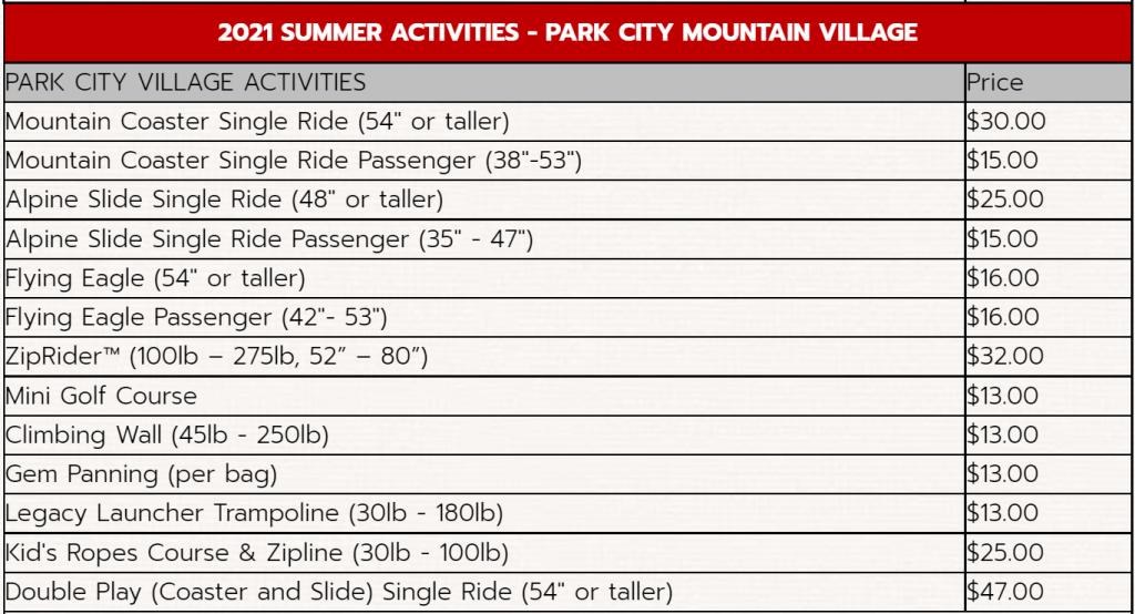 screenshot of park city activities page