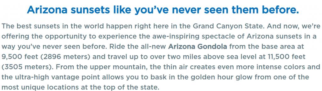 screenshot of sunset gondola ride website